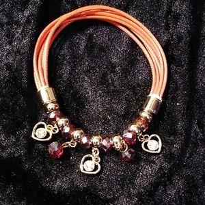 Jewelry - Bracelet Silver Red Beaded Rhinestones Stretch